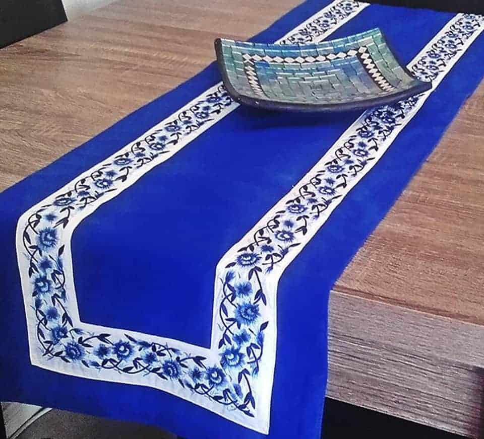 BLUE POETRY TABLE RUNNER