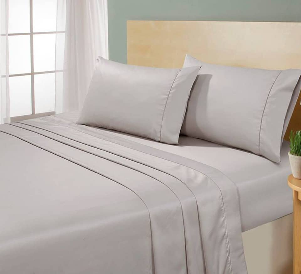 beige with beige marrow stitch flat sheet set