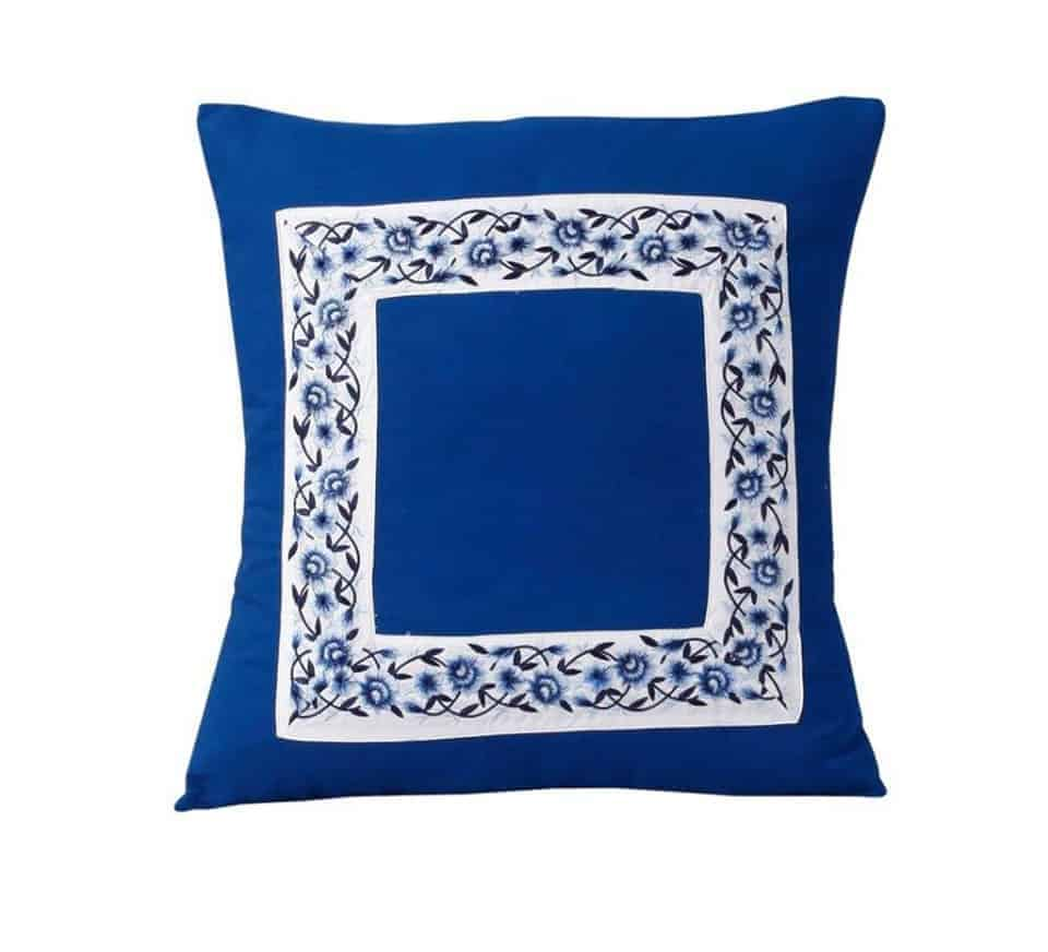 Blue Poetry Cushion Cover