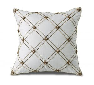 fancy white gold embroidery cushion cover
