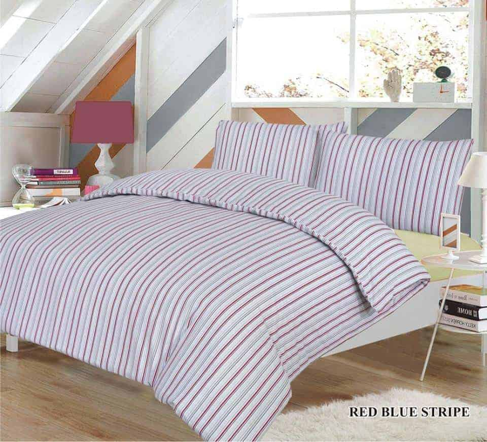 blue red stripes quilt cover set