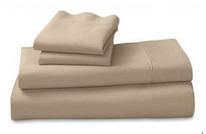 beige fitted sheet + pillowcase