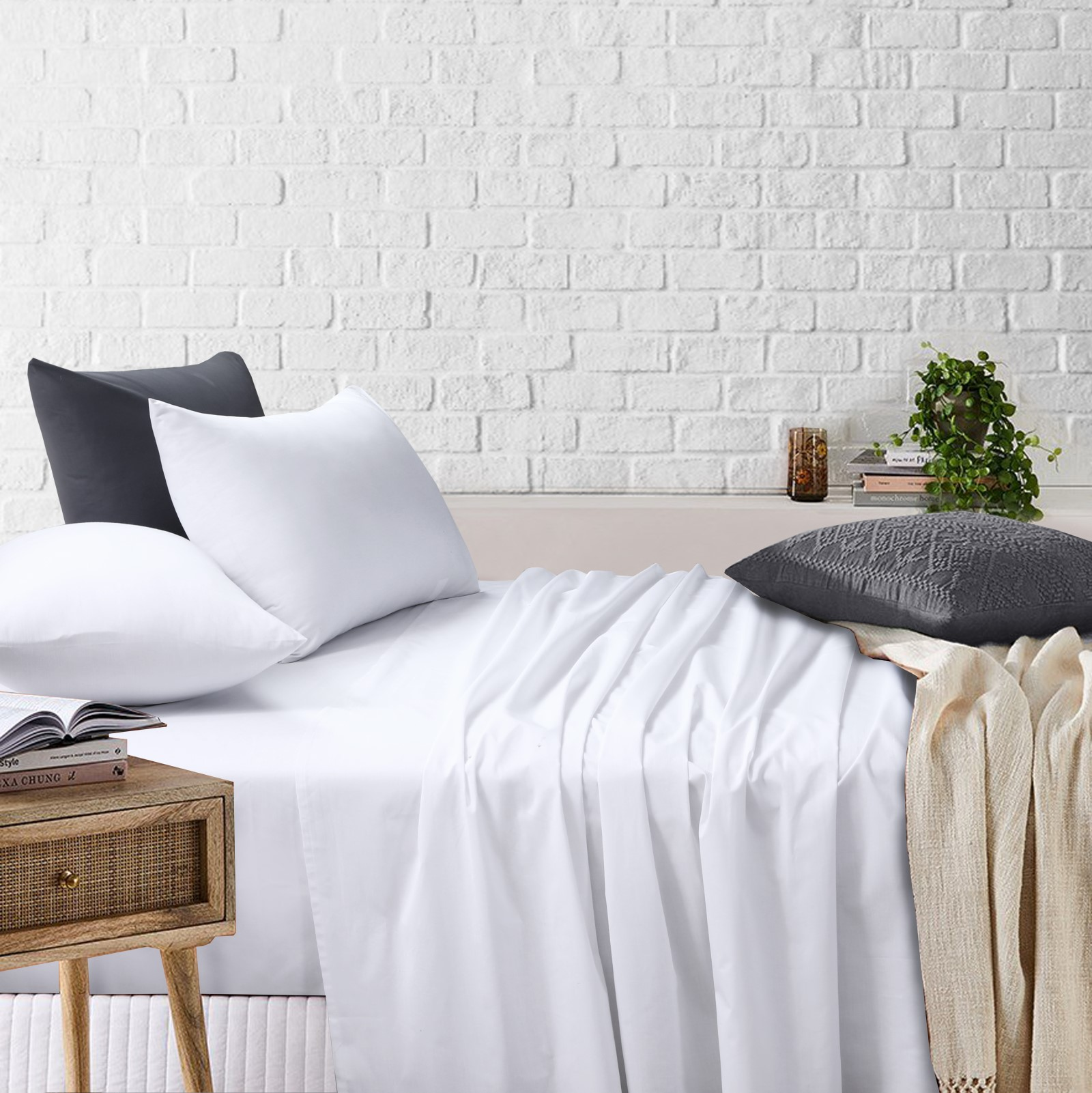 White Bedsheets Set Flat And Fitted Sheets With Pillowcases Amsons Design